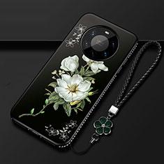 Coque Silicone Fleurs Souple Couleur Unie Etui Housse pour Huawei Mate 40 Pro+ Plus Noir