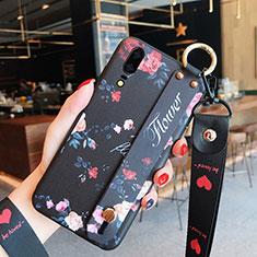 Coque Silicone Fleurs Souple Couleur Unie Etui Housse pour Huawei P20 Noir