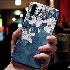 Coque Silicone Fleurs Souple Couleur Unie Etui Housse pour Huawei P30 Bleu