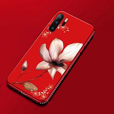 Coque Silicone Fleurs Souple Couleur Unie Etui Housse pour Huawei P30 Pro Rouge