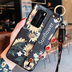 Coque Silicone Fleurs Souple Couleur Unie Etui Housse pour Huawei P40 Orange