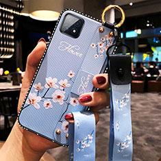 Coque Silicone Fleurs Souple Couleur Unie Etui Housse pour Oppo A72 5G Bleu Clair