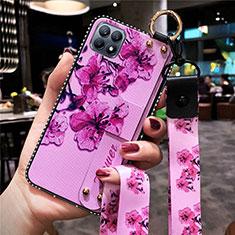 Coque Silicone Fleurs Souple Couleur Unie Etui Housse pour Oppo Reno4 SE 5G Violet