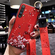 Coque Silicone Fleurs Souple Couleur Unie Etui Housse pour Realme X50m 5G Rouge
