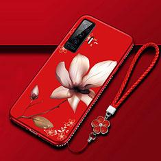 Coque Silicone Fleurs Souple Couleur Unie Etui Housse pour Vivo X50 5G Vin Rouge