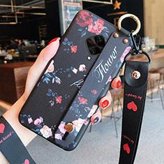 Coque Silicone Fleurs Souple Couleur Unie Etui Housse pour Vivo X50 Lite Noir
