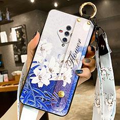 Coque Silicone Fleurs Souple Couleur Unie Etui Housse pour Vivo X50e 5G Bleu