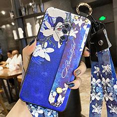 Coque Silicone Fleurs Souple Couleur Unie Etui Housse pour Vivo X50e 5G Bleu Royal