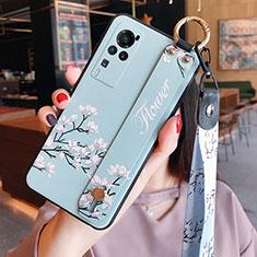 Coque Silicone Fleurs Souple Couleur Unie Etui Housse pour Vivo X60 Pro 5G Bleu Clair