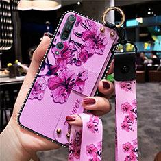 Coque Silicone Fleurs Souple Couleur Unie Etui Housse pour Xiaomi Mi 10 Pro Violet
