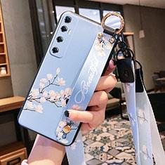 Coque Silicone Fleurs Souple Couleur Unie Etui Housse pour Xiaomi Mi 10 Ultra Bleu Clair