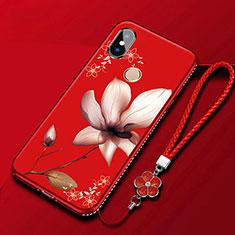 Coque Silicone Fleurs Souple Couleur Unie Etui Housse pour Xiaomi Redmi 6 Pro Rouge