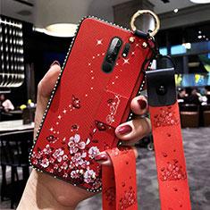 Coque Silicone Fleurs Souple Couleur Unie Etui Housse pour Xiaomi Redmi 9 Rouge