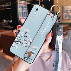 Coque Silicone Fleurs Souple Couleur Unie Etui Housse pour Xiaomi Redmi 9A Bleu Clair
