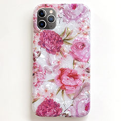 Coque Silicone Fleurs Souple Couleur Unie Etui Housse S01 pour Apple iPhone 11 Pro Max Rose