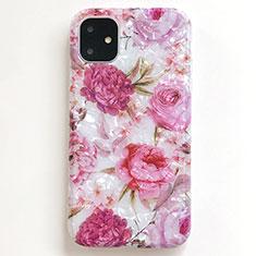 Coque Silicone Fleurs Souple Couleur Unie Etui Housse S01 pour Apple iPhone 11 Rose