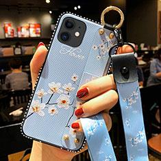 Coque Silicone Fleurs Souple Couleur Unie Etui Housse S01 pour Apple iPhone 12 Bleu Clair