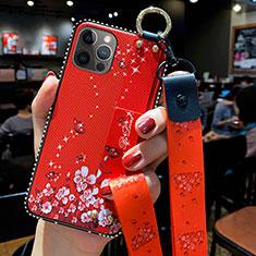 Coque Silicone Fleurs Souple Couleur Unie Etui Housse S01 pour Apple iPhone 12 Pro Rouge