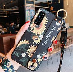 Coque Silicone Fleurs Souple Couleur Unie Etui Housse S01 pour Huawei Enjoy 20 Pro 5G Jaune