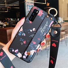 Coque Silicone Fleurs Souple Couleur Unie Etui Housse S01 pour Huawei Enjoy 20 Pro 5G Noir