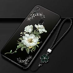 Coque Silicone Fleurs Souple Couleur Unie Etui Housse S01 pour Huawei Honor 10 Lite Noir