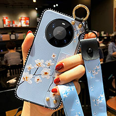 Coque Silicone Fleurs Souple Couleur Unie Etui Housse S01 pour Huawei Mate 40 Pro+ Plus Bleu Clair