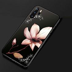 Coque Silicone Fleurs Souple Couleur Unie Etui Housse S01 pour Huawei P30 Pro Rose