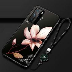 Coque Silicone Fleurs Souple Couleur Unie Etui Housse S01 pour Huawei P40 Pro Marron