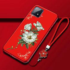 Coque Silicone Fleurs Souple Couleur Unie Etui Housse S01 pour Oppo A72 5G Rouge