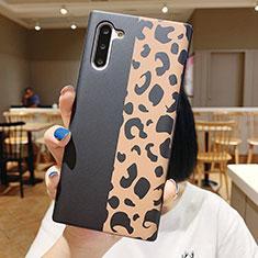 Coque Silicone Fleurs Souple Couleur Unie Etui Housse S01 pour Samsung Galaxy Note 10 Noir