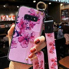 Coque Silicone Fleurs Souple Couleur Unie Etui Housse S01 pour Samsung Galaxy S10e Violet