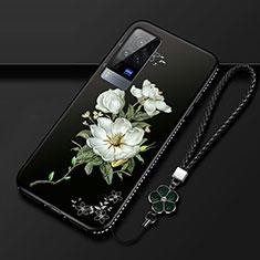 Coque Silicone Fleurs Souple Couleur Unie Etui Housse S01 pour Vivo X60 Pro 5G Noir