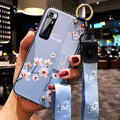 Coque Silicone Fleurs Souple Couleur Unie Etui Housse S01 pour Xiaomi Mi 10 Ultra Bleu Clair