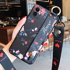 Coque Silicone Fleurs Souple Couleur Unie Etui Housse S02 pour Apple iPhone 12 Mini Noir