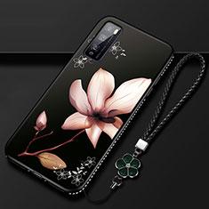 Coque Silicone Fleurs Souple Couleur Unie Etui Housse S02 pour Huawei Enjoy 20 Pro 5G Marron