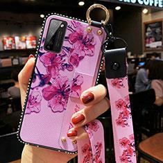 Coque Silicone Fleurs Souple Couleur Unie Etui Housse S02 pour Huawei Honor 30 Lite 5G Violet Clair