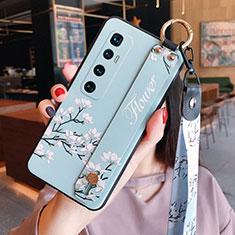Coque Silicone Fleurs Souple Couleur Unie Etui Housse S02 pour Xiaomi Mi 10 Ultra Bleu Clair