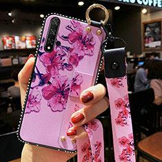 Coque Silicone Fleurs Souple Couleur Unie Etui Housse S03 pour Huawei Honor 20 Violet
