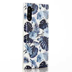 Coque Silicone Fleurs Souple Couleur Unie Etui Housse S03 pour Samsung Galaxy Note 10 5G Bleu