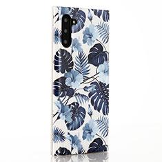 Coque Silicone Fleurs Souple Couleur Unie Etui Housse S03 pour Samsung Galaxy Note 10 Bleu