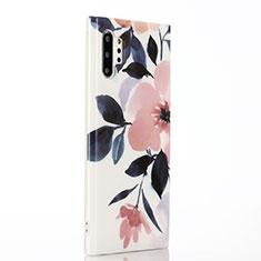 Coque Silicone Fleurs Souple Couleur Unie Etui Housse S03 pour Samsung Galaxy Note 10 Plus Rose