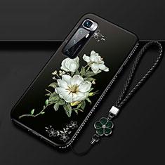 Coque Silicone Fleurs Souple Couleur Unie Etui Housse S03 pour Xiaomi Mi 10 Ultra Blanc