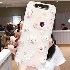 Coque Silicone Fleurs Souple Couleur Unie Etui Housse S04 pour Samsung Galaxy A80 Rose