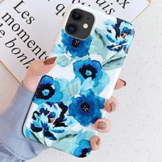 Coque Silicone Fleurs Souple Couleur Unie Etui Housse S05 pour Apple iPhone 11 Bleu