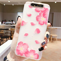 Coque Silicone Fleurs Souple Couleur Unie Etui Housse S05 pour Samsung Galaxy A80 Rose