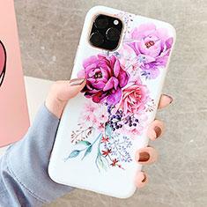 Coque Silicone Fleurs Souple Couleur Unie Etui Housse S06 pour Apple iPhone 11 Pro Violet