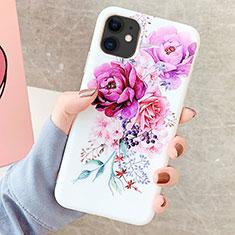 Coque Silicone Fleurs Souple Couleur Unie Etui Housse S06 pour Apple iPhone 11 Violet