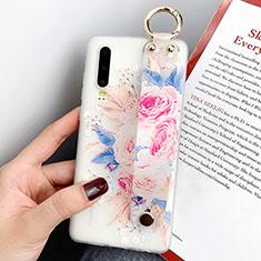 Coque Silicone Fleurs Souple Couleur Unie Etui Housse S06 pour Huawei P30 Or Rose
