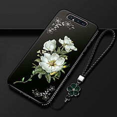 Coque Silicone Fleurs Souple Couleur Unie Etui Housse S06 pour Samsung Galaxy A80 Noir