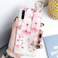 Coque Silicone Fleurs Souple Couleur Unie Etui Housse S07 pour Huawei P30 Rose Rouge